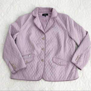 Talbots Lilac Purple Quilted Button Front Jacket